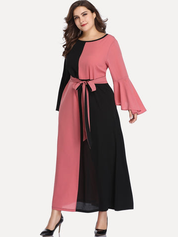 Plus Two Tone Flounce Sleeve Belted Dress