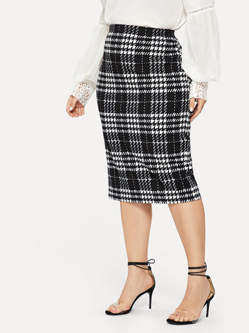 Plus Plaid Print Bodycon Skirt