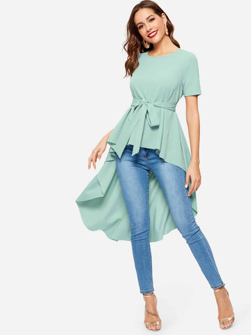 Waist Belted Dip Hem Top | Amy's Cart Singapore