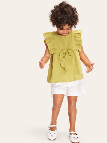 Toddler Girls Ruffle Armhole Bow Detail Top