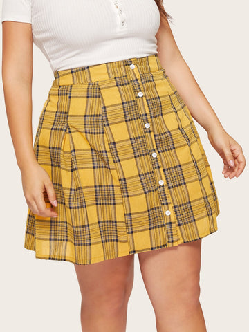 Plus Plaid Button Skirt