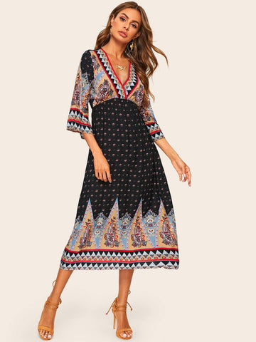 Tribal Print Bell Sleeve Surplice Wrap Dress | Amy's Cart Singapore