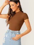 Mock-Neck Rib-knit Form Fitted Top