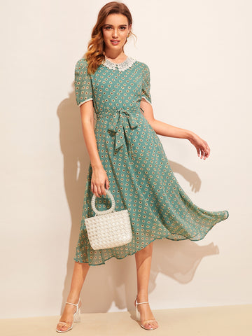 Allover Sunflower Print Lace Trim Belted Dress