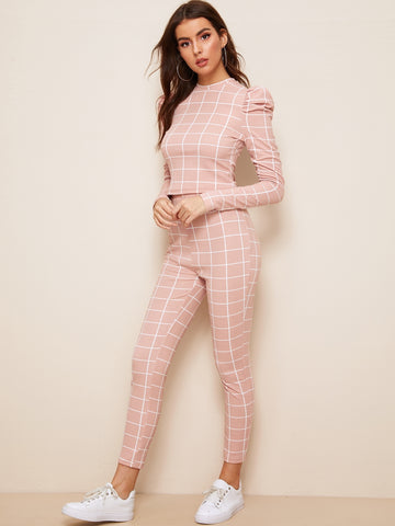 Mock-neck Puff Sleeve Grid Top and Pants Set