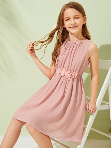Girls Frill 3D Appliques Detail Gathered Dress