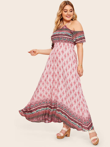 Plus Tribal Print Maxi Halter Dress | Amy's Cart Singapore