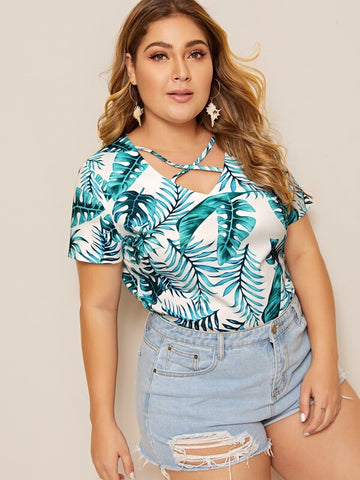Plus Tropical Print Criss Cross Tee | Amy's Cart Singapore