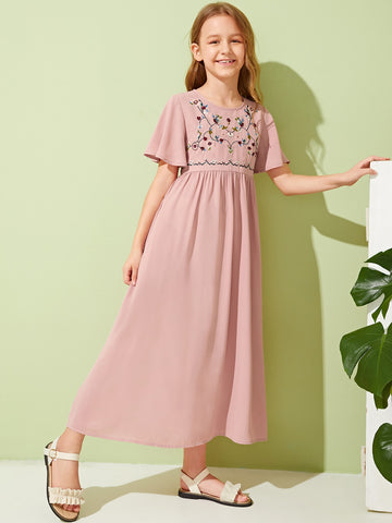 Girls Flutter Sleeve Embroidery Front Dress