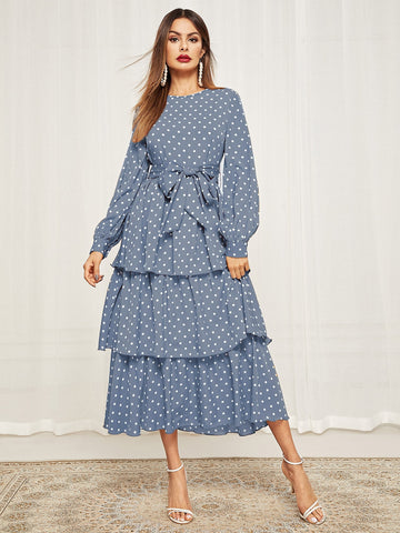 Polka Dot Self Belted Layered Hem Dress Blue