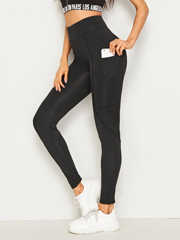 Pocket Side Wide Waistband Leggings