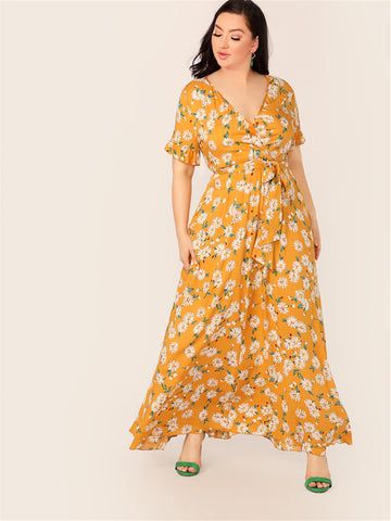 Plus Daisy Floral Print Wrap Belted Dress