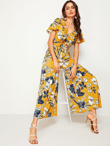 Floral Print Tie Front Flare Leg Belted Jumpsuit