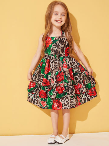 Toddler Girls Rose & Leopard Print Layered Slip Dress