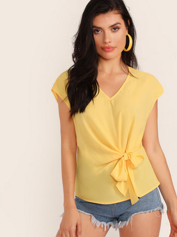 V-neck Tie Front Solid Top