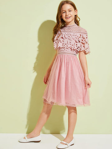 Girls Guipure Lace Cape Overlay Mesh Hem Dress