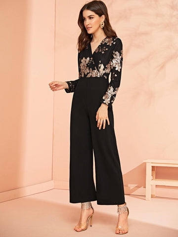 Surplice Wrap Sequin Embroidered Wide Leg Jumpsuit