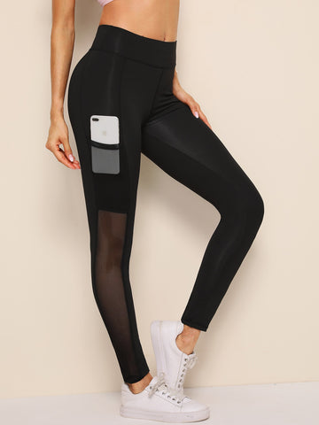 Contrast Mesh Pocket Skinny Leggings
