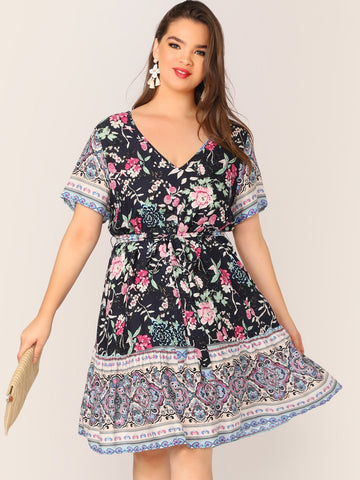Plus Floral & Tribal Print Belted Dress | Amy's Cart Singapore