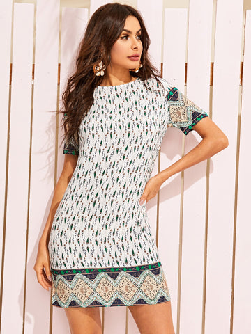 Tribal Print Keyhole Back Tunic Dress | Amy's Cart Singapore