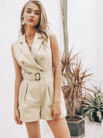 Simplee Notch Collar Buckle Belted Blazer Romper