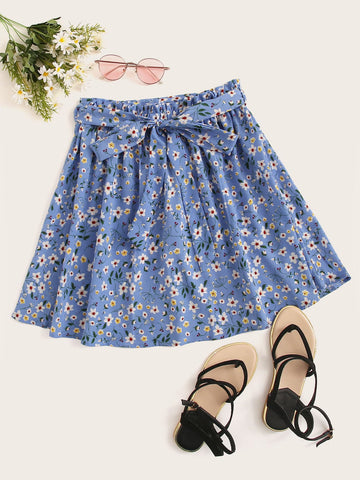 Ditsy Floral Print Paperbag Waist Belted Skirt | Amy's Cart Singapore