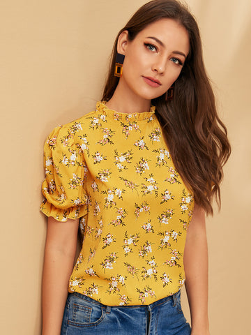 Frill Trim Stand Neck Floral Print Top