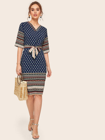 Tribal Print Belted Midi Dress | Amy's Cart Singapore
