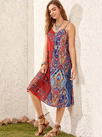 Tribal Print Slip Dress