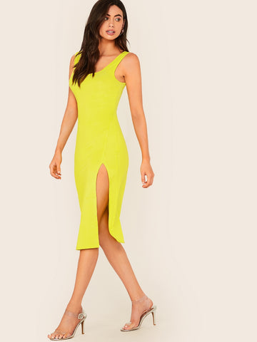 Neon Yellow Split Thigh Tank Dress