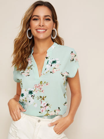 Notch Neck Floral Print Batwing Sleeve Top