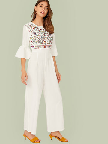 Bell Sleeve Embroidery Detail Palazzo Jumpsuit