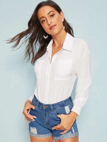 Solid Pocket Front Blouse