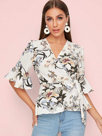 Floral Print Tie Side Wrap Blouse | Amy's Cart Singapore