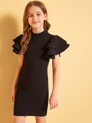 Girls Zip Back Layered Flutter Sleeve Fitted Dress