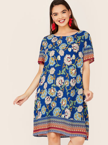 Plus Tribal Print Tunic Dress | Amy's Cart Singapore