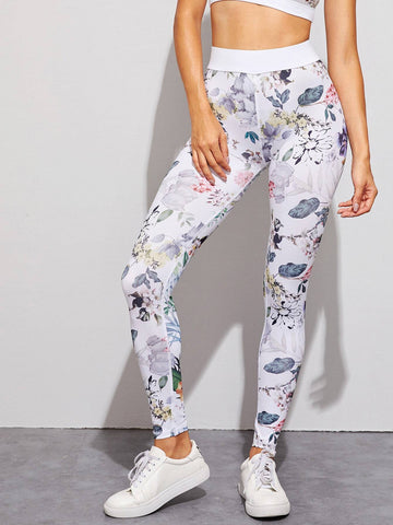 Floral Print High Waist Skinny Leggings