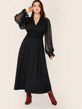Plus Sheer Lantern Sleeve Shirred Fit And Flare Dress
