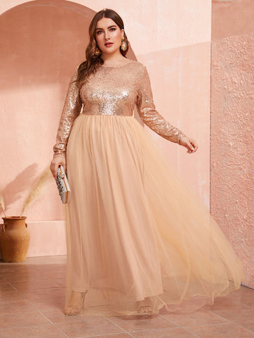 Plus Sequin Bodice Tulle Maxi Dress