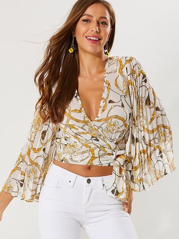 Chain Print Pleated Sleeve Wrap Knotted Top