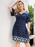 Plus V Neck Tribal Print Dress | Amy's Cart Singapore