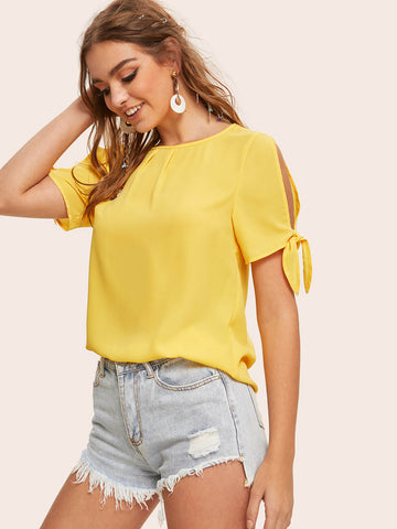Knot Cuff Split Sleeve Top