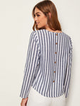 Pocket Patched Button Detail Back Striped Top