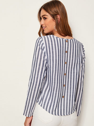 Striped Button Detailing Long Sleeve Top