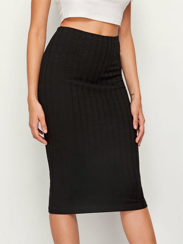 Rib-knit Solid Pencil Skirt