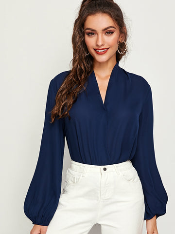V-neck Lantern Sleeve Wrap Top