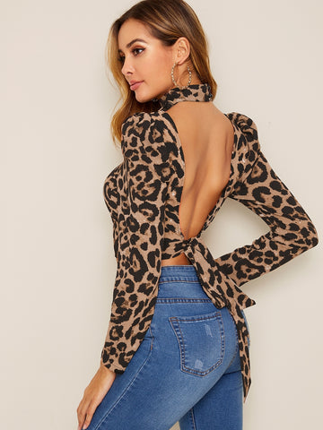 Leopard Print Tied Open Back Puff Sleeve Top