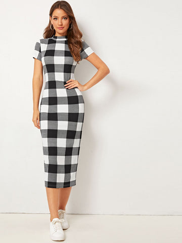 Buffalo Plaid Mock-neck Slit Hem Pencil Dress