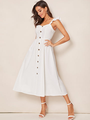 Button Front Ruffle Trim Slip Flare Dress
