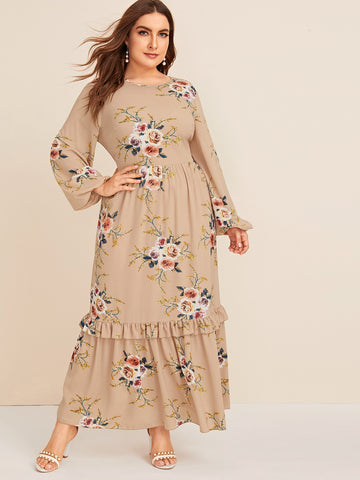 Plus Lantern Sleeve Ruffle Hem Floral Print Maxi Dress